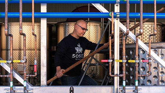 Sosie Wines Owner Scott MacFiggen Checking Wine In Tank - Meet our incredible winery partners